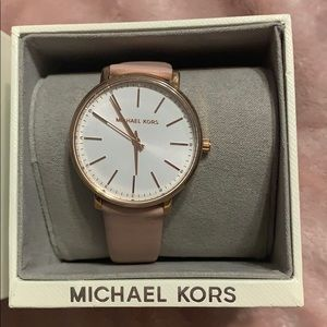 Michael Kors Pyper Rose Gold Tone Leather Watch